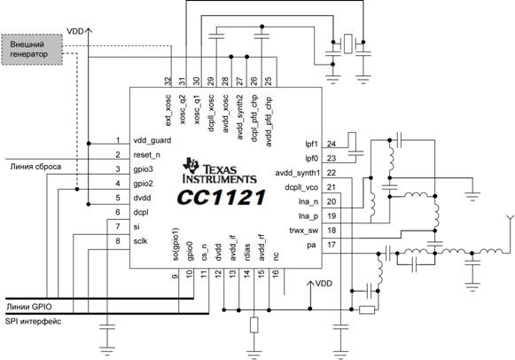 Типовая схема включения СС112х