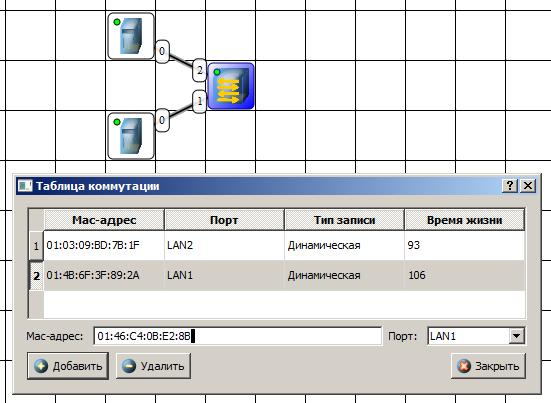 Вариант сети из двух подсетей, соединенных маршрутизатором
