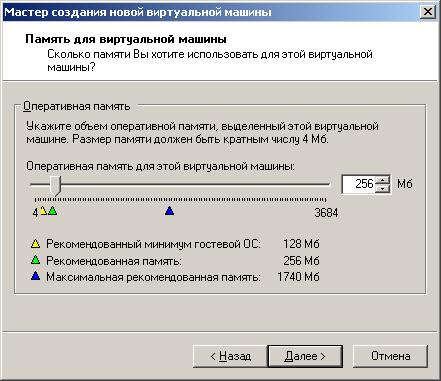 Для Windows XP рекомендованная память 256 Мб