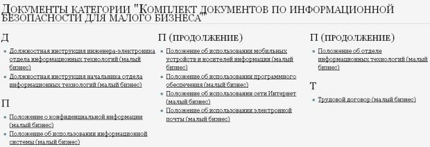 Список документов по информационной безопасности для малого бизнеса