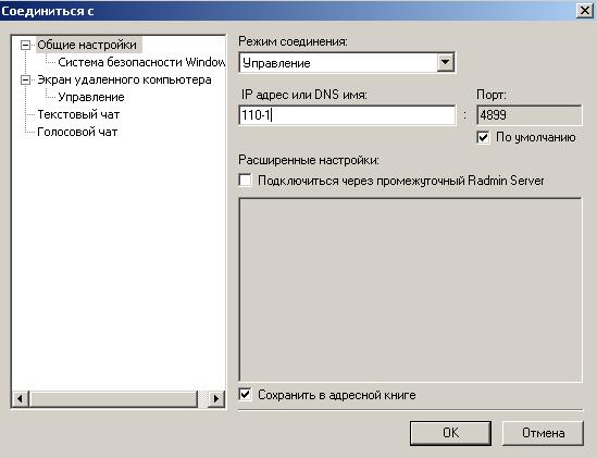 Окно соединения клиента 110-2 с сервером 110-1