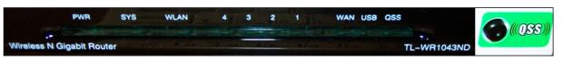 Передняя панель беспроводного маршрутизатора TL-WR1043ND