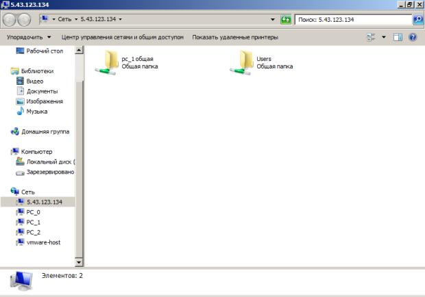 Вид папок с общим доступом в виртуальной сети VPN-110