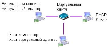 Схема сетевого подключения ВМ по типу Использовать только сеть узла