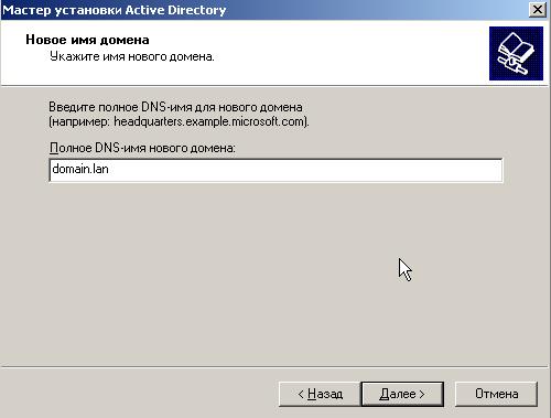 Вводим полное DNS-имя для нового домена
