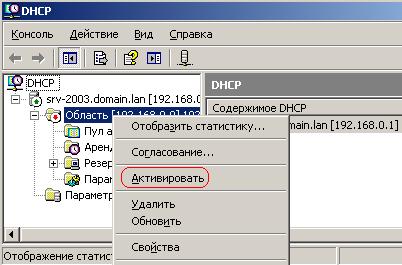 Активирование заданного нами диапазона IP адресов для клиентских машин