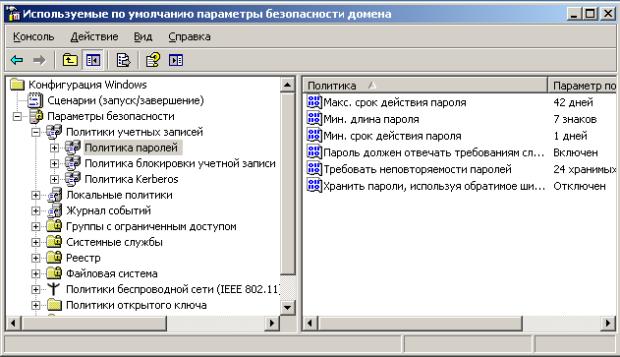 Используемые по умолчанию параметры безопасности домена