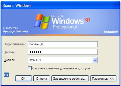 Окно входа клиента в домен