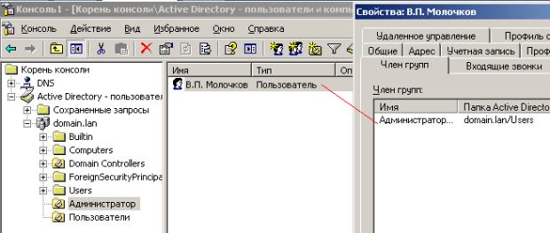 Молочков - член группы администраторов домена (из пользователей домена он удален)