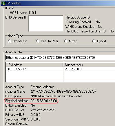 Окно утилиты IP config